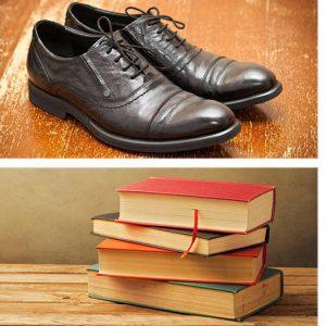 imagem com varios objetos como sapatos, livros e roupas