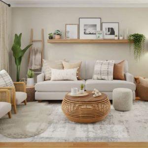 imagem de uma sala de estar decorada